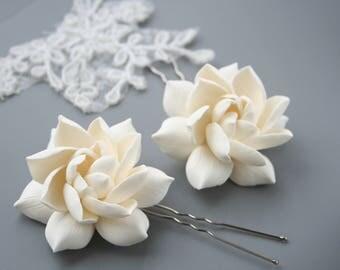 Gardenia Bridal hair accessories Flower hair pin Bridal flower clip Bridal flower pin Wedding flower pin Clay flower Wedding hair accessory