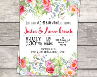 co ed baby shower invitations, watercolor floral tropical garden, custom colors, digital files