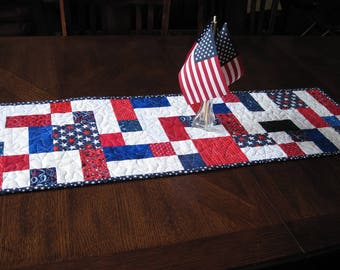 Modern Patriotic Quilted Table Runner - red, white, blue modern runner - reversible patriotic table runner
