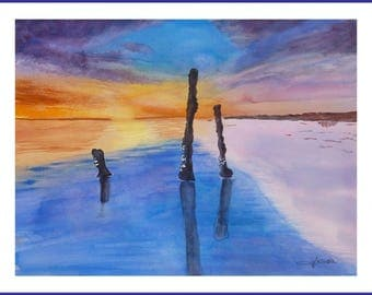 Watercolor - sunset