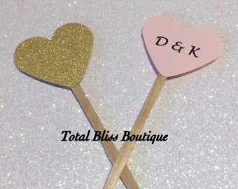 12 Heart Shaped Cupcake Toppers, Pink & Gold Party Favors, Personalized Cake Topper, Party Tags, Wedding Cupcake Toppers, His and Hers