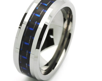8MM Comfort Fit Tungsten Carbide Wedding Band Carbon Fiber Inlaid Pattern Ring(JDTR158)