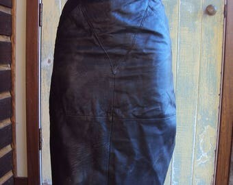 Vintage black leather skirt size 12 with geometric triangular panel feature by Sandra Steiner made in India