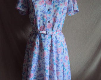 Vintage purple blue and pink floral polyester dress size 10