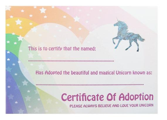 Certificate Unicorn Adoption Adopt A Unicorn A4