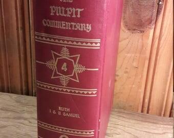 1976 Eerdmans Pulpit Commentary - Ruth, 1 & 2 Samuel - Vintage Christian Bible Books Pastor Book for Church Sermons - Old Antique Decorative