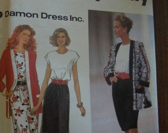Simplicity 8346, sizes 10-16, misses, petite, dress and unlined jacket, UNCUT sewing pattern, craft supplies