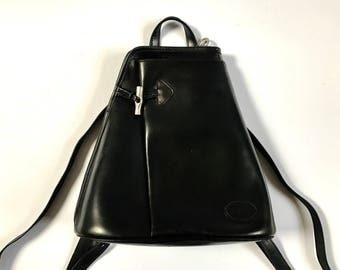 Black Leather Rucksack. Vintage Black Backpack. Leather Rucksack. Black Leather Bag. Black Rucksack. Black Leather Shoulder Bag