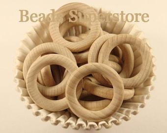 40 mm (1.5 Inch) Natural BEECH Wood Teething Ring - Food Grade Teething Baby Bead - Food Grade Teether (NW21)