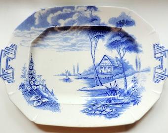 Vintage English Transferware Platter/Vintage Platter/Vintage Ironstone Platter/Lakeland By Palissy England/Blue and White Serving Platter