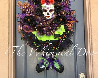 Day of the dead wreath dia de los muertas wreath skull wreath