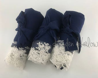 Navy Blue Cotton Robe with ivory lace trim -Bride Bridesmaid or Flowergirl Gift - Monogrammable | standard, large, XL or children sizes