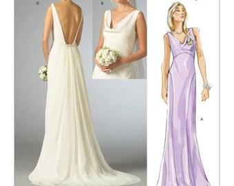 2965, Vogue, Wedding Dress Pattern, Cowl-Neck Dress, Plunging Back, Bridal Gown, Sleeveless, V neck, Formal Wedding, Formal Gown, Open Back