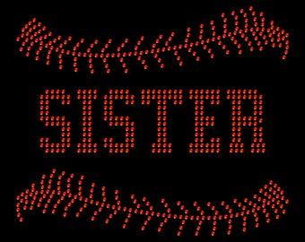 Baseball Sister Laces Sport Team Mom Rhinestone Iron On Transfer Hotfix Bling