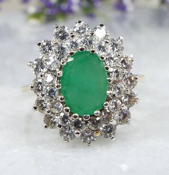 Vintage 1988 9ct Yellow Gold Emerald Double Row Crystal Cluster Ring / Size Q 1/2