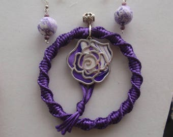 purple & white rose pendant necklace with earrings