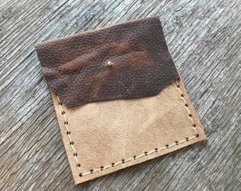 Leather & Suede Pouch, Unisex, Rustic, Raw Edges, Possibles Bag, Small Wallet, Coin Bag, Card Holder, Western, Gift