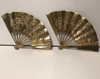 Vintage brass wall fans - asian oriental chinese