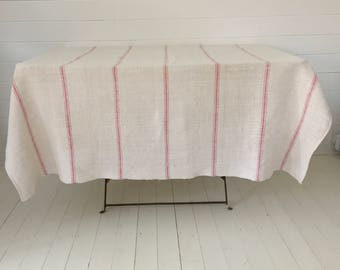 Pink Striped Tablecloth Linen for Cafe Tables Small Tables Vintage Fabric Handmade Linen