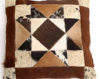 Natural Cowhide Luxurious Patchwork Hairon Cushion/pillow Cover (15''x 15'')a169