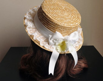 Vanilla Country Floral Straw Boater Hat