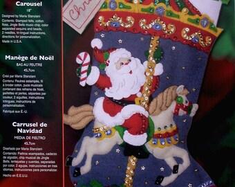 "Bucilla Christmas Carousel ~ 18"" Felt Christmas Stocking Kit #85316 Music Horses"