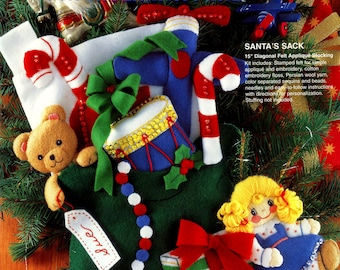 "Santa's Sack ~ 15"" Bucilla Felt Christmas Stocking Kit #33511"