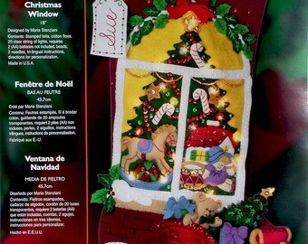 "Bucilla Christmas Window ~ 18"" Felt Stocking Kit #85321, Tree Lights Toys Sleigh"