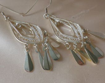 Vintage Sterling Silver Dangle & Drop Filigree Fringe Earrings Pierced Ears