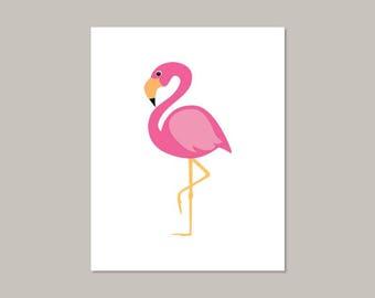 Pink Flamingo - Pink Wall Art - Instant Download - Nursery Printable - Bathroom Wall Art - Bathroom Decor