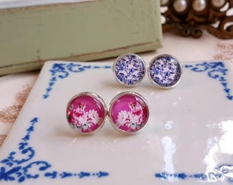 Romantic floral print Stud earrings Cabochon earrings Set of 2 pairs Gift under 10 Cottage chic blue and pink earrings