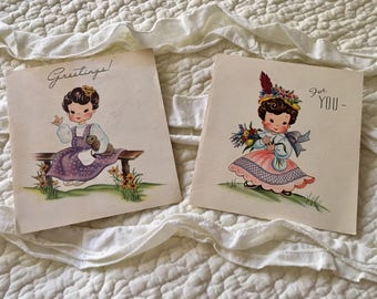 2 Vintage blank Greeting Cards Lil Honey Notes