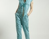 Jumpsuit  Romper Blue  Animal Print  with pockets handmade in Pure Strong Cotton