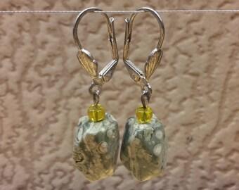 Vintage Handmade Women Earrings Ocean Jasper Facet Beads Green Color