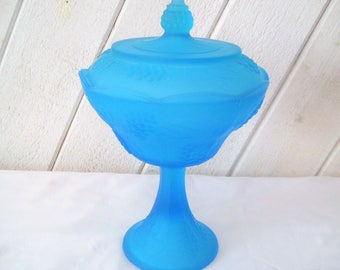 Ice blue aqua compote, pedestal bowl with lid, candy bowl, nut dish, satin finish, turquoise bowl, shabby cottage chic decor, mid century