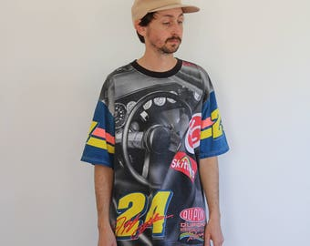 90s Jeff Gordon All Over Print Pastel Nascar Shirt XL