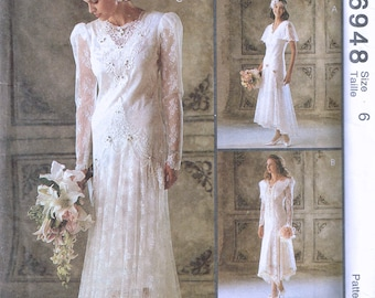 Size 6 Wedding Dress Sewing Pattern - Drop Waist Flapper Style Wedding Dress - Lace Retro Bridal Gown - Alicyn Exclusives - McCalls 6848