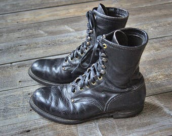Vintage Black Leather Work Boots - Lace Up - Steel Toe - Combat Boots - Worn In - Men's Size 9