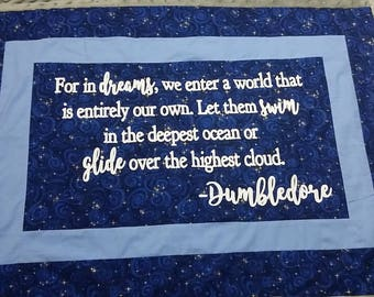 Harry Potter, Minky Blanket, Dumbledore, For in dreams, Ravenclaw colors, Baby Wizard Quilt - Wizard Blanket, Made to Order, Custom
