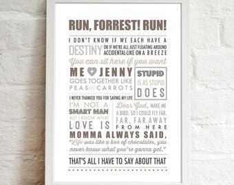 INSTANT DIGITAL DOWNLOAD . . . Forrest Gump Inspired Quotes . 90's Movie . Modern Typography . Printable Artwork .