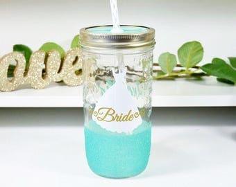 Bride Tumbler - Glitter Dipped Tumbler - Bachelorette Tumblers - Bride and Bridesmaid Tumblers - Wedding Dress Tumbler - Engagement Cups