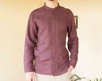 Purple gray linen men's shirt.