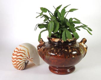 Brush McCoy Brown Onyx blended Glaze Jardiniere Vintage 1930's