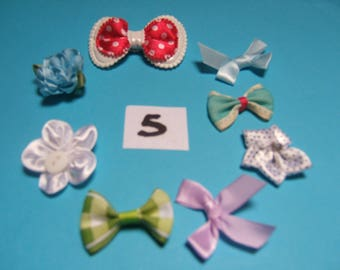 No. 5 satin flowers deco 20 to 30mm x 8 mm diameter
