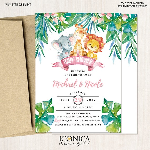 Safari Baby Shower Invitations Party Animals Jungle Animals Party