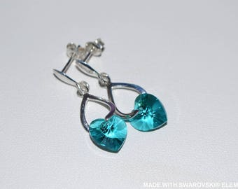 SWAROVSKI Crystal turquoise heart earrings / 925 sterling silver