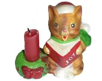 Santa Kitty Candleholder Cute Christmas Cat Caroling Figurine Candle Holder Vintage Ceramic Kitsch Kawaii Animal Singing Carols Decor Gift