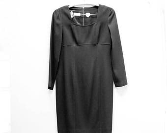 Vintage Liz Claiborne Black Fitted Long Sleeve Dress Women's Size 12 [Cute Retro Officewear Eveningwear Winter Black Dress] 36 inch waist