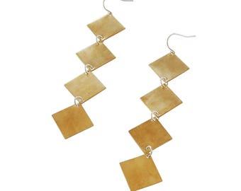 Diamond Drop Earrings;  Geometric Earrings; Diamond Jewelry; Brass Square Jewelry; Gold Diamond Drop Earrings; Geometric Earrings; Brass