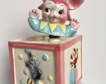 Nodder Jack in the Box Rabbit Planter